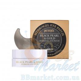 Гидрогелевые патчи для глаз с золотом и черным жемчугом PETITFEE Black Pearl & Gold Hydrogel Eye Patch 60шт