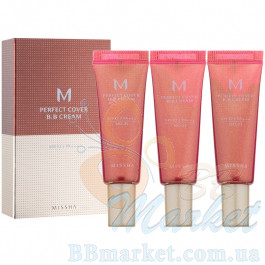 Набор ББ кремов Missha M Perfect Cover BB Cream SPF 42/PA +++ 10ml x 3шт